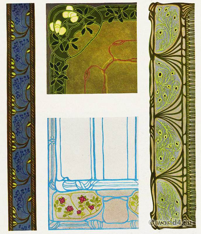 Paul Lang. Designs for fabric patterns. Art Nouveau textil design. German Art and Decoration.