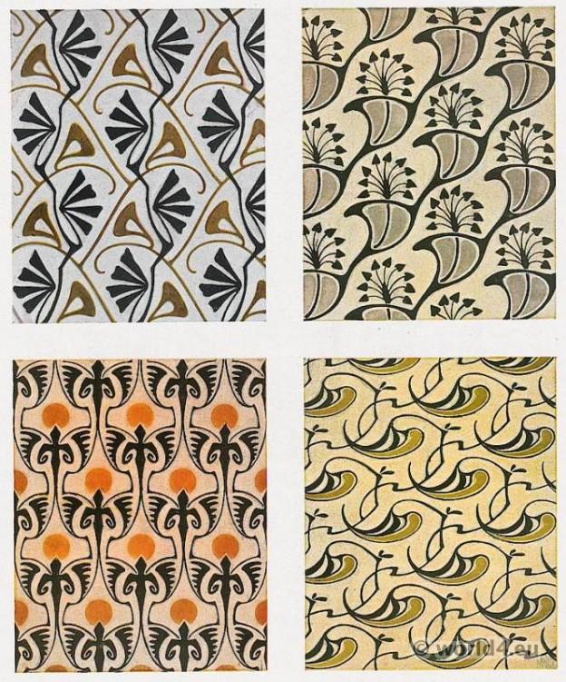Bernhard Wenig. Designs for modern cloth fabrics. Art Nouveau cloth pattern design.