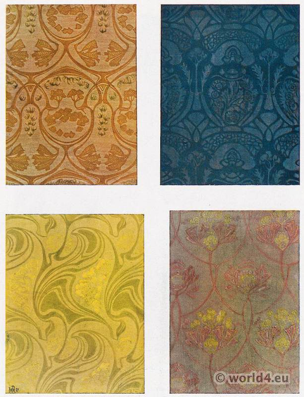 Paul Lang. Designs for fabric patterns. Art Nouveau fabric design. German Art and Decoration.