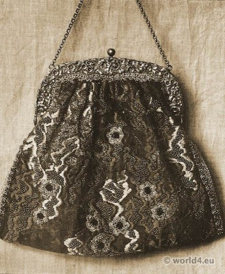 Bag with silk and beadwork by Else Wislicenus. Head of Textiles. Art nouveau