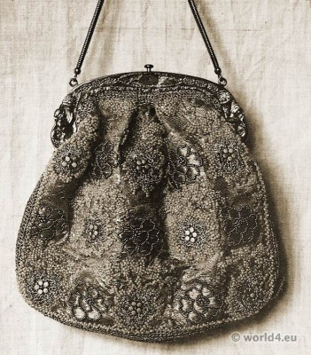 Bag with silk and beadwork by Else Wislicenus. Head of Textiles. Art nouveau textile design.