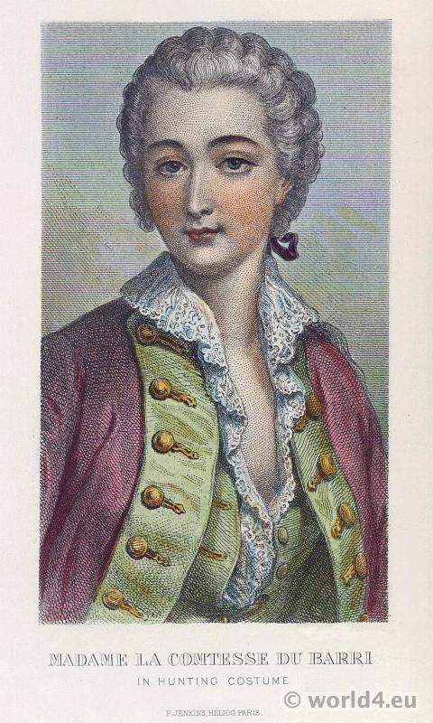 comtesse, du Barry, hunting, costume, rococo