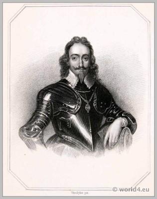 English King Charles I. England 17th century clothing. Baroque costume.