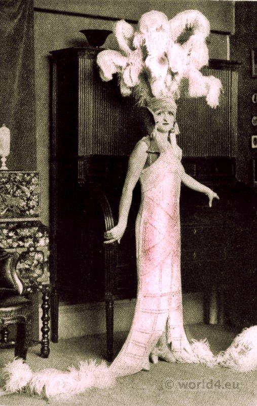 Costume design, couturier George Barbier, Follis Bergère. 1920s glamour fashion. Art deco dress.