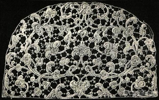 Stitched lace. Point de Venise, 17th Century. Baroque Period.