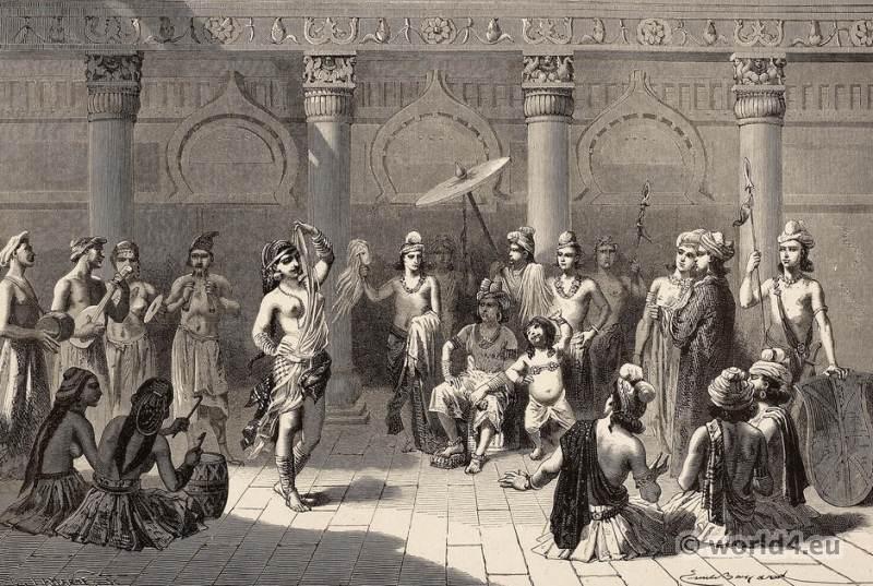 Old Indian court life. Indian Rajah Moghul costumes. Slave girl dancing.