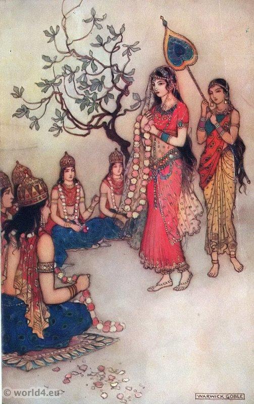 Damayanti, India, myth, legend, Indian clothing, epic, Mahabharata,