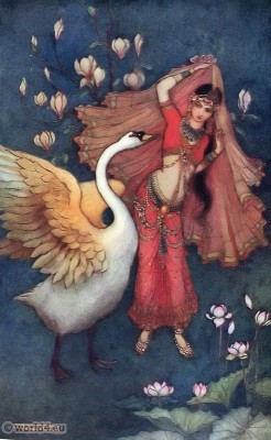 Damayanti and the Swan. Indian myth and legend. Traditional Indian clothing. Indian epic Mahabharata