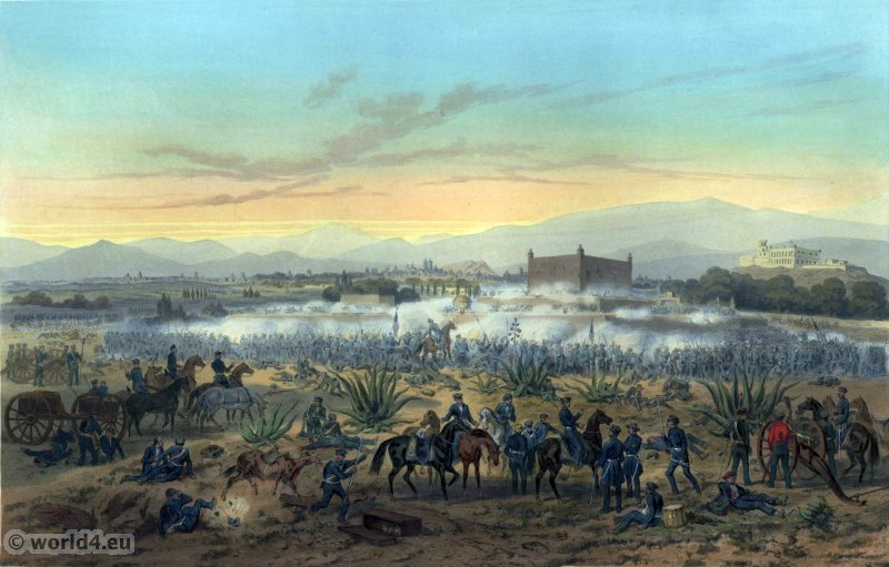Molino del Rey - attack upon the casa mata. Mexican-American War. George Wilkins Kendall. Carl Nebel. Military Soldier Uniforms.