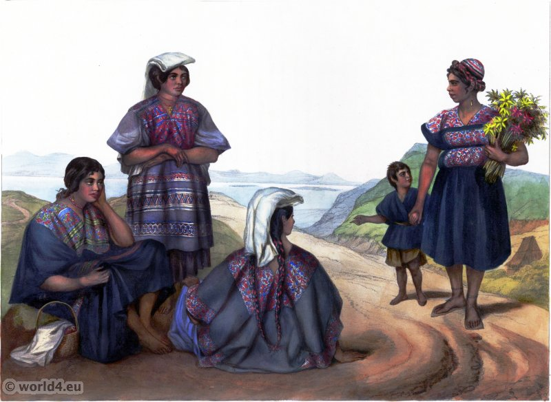 Indiennes de la Sierra. Traditional Mexican national costume. Indian natives clothing. Carl Nebel.