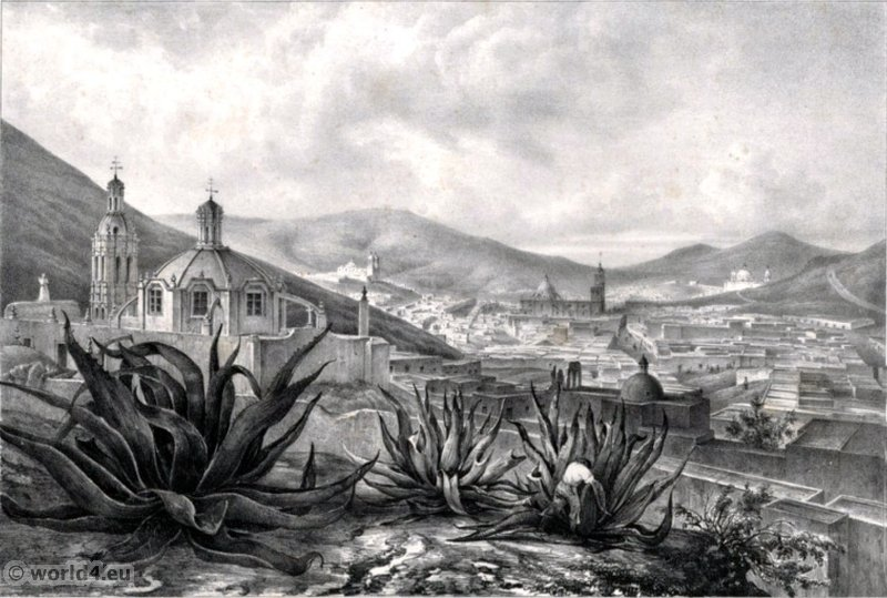 Veste General de Zacatecas. Mexican town. Topography. Carl Nebel.