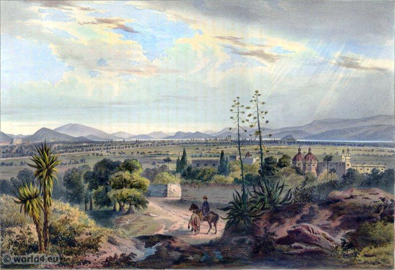 Valle de Mexico. Mexican town. Topography. Carl Nebel.