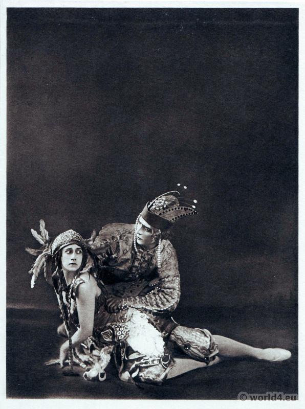 Tamara Karsavina and Adolf Bolm. Russian Ballet. Dance costume. Famous Opera