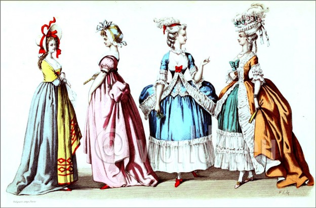 Hoop-skirts. French Ancien Régime Rococo costumes. 18th century fashion. French court dress