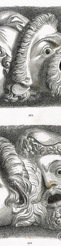 Antiques. Art Greco. Tragic Masks, Carved. Greek theatrical performing masks.
