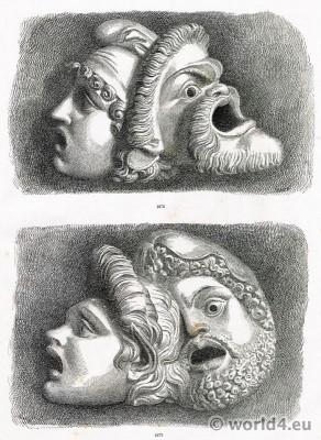 Tragic, masks, Ancient, Greek, Greece, Art,