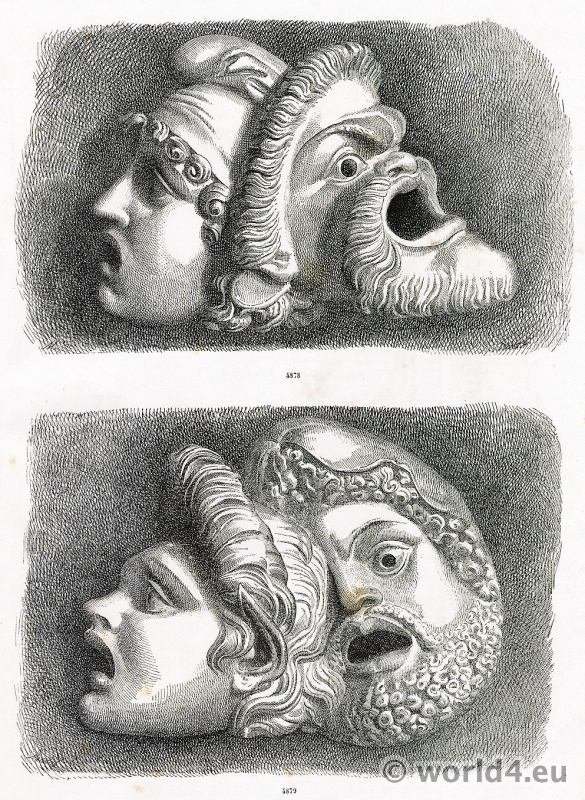 Greek, theatrical, masks, Art, Greco, Tragic, Masks,