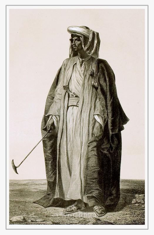 Men from Hejaz. Mekka and Medina costume. Traditional Arabian dress. Arab Caftan and Turban.