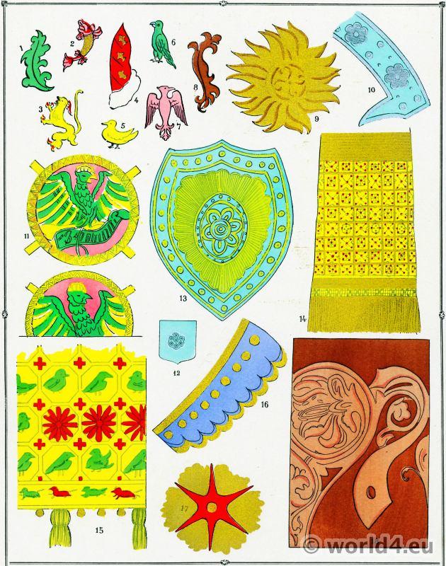 Motif, Dentelles, Broderies, Tissu, Aigle, Moyen Age.