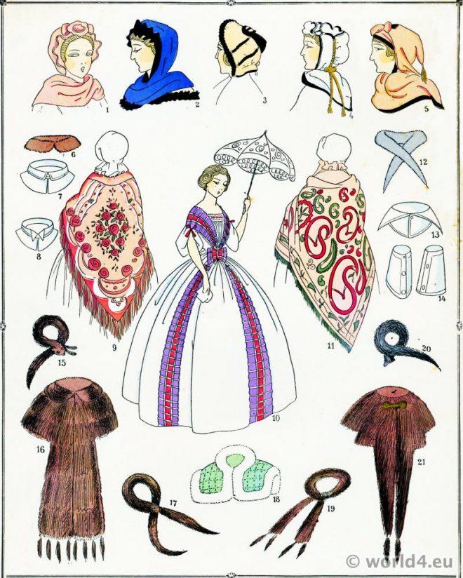 Coiffes, Capuchons, costume, féminin, français, modes, second empire,