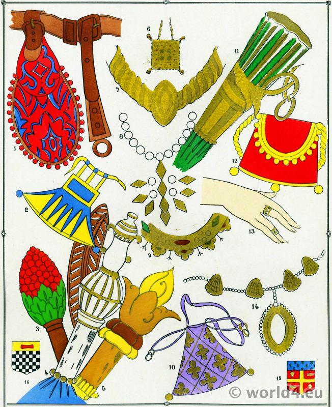 Colifichets, Escarcelle, Bagues, Épouse, Collier, Armoiries, Modes, Moyen age,
