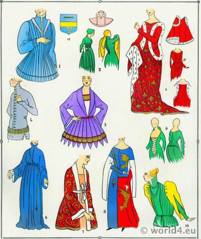 Corsages, Corset, Bliaut, modes, Moyen Age, Costume, Peliçon, Surcot, français,