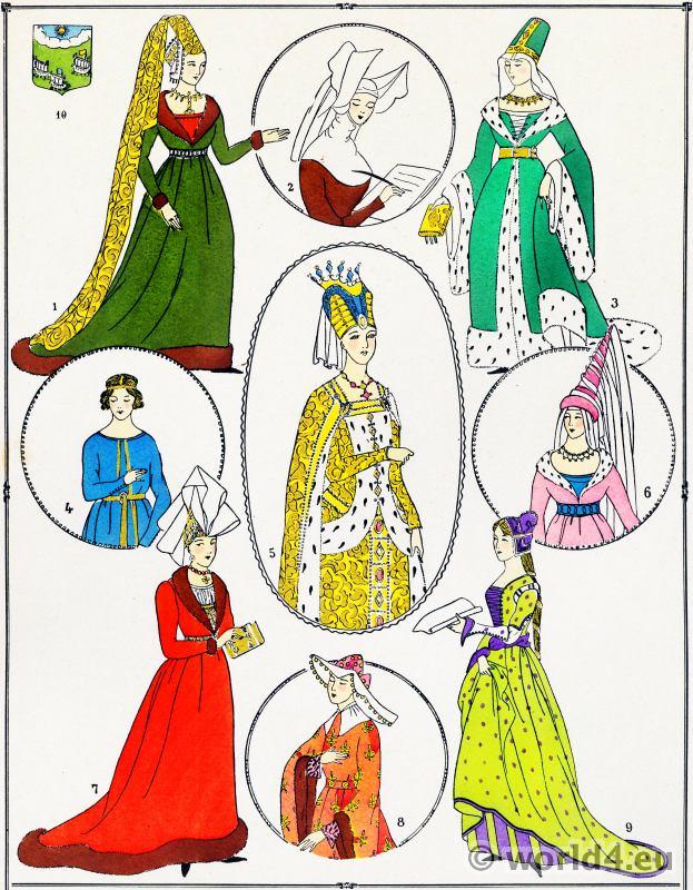 Élégantes, modes, Moyen Âge, Costume, français
