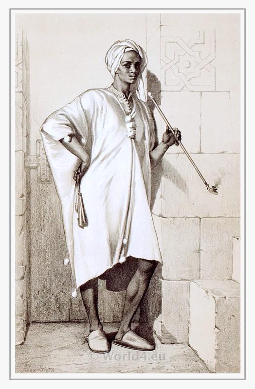 Traditional egyptian nubian costume. Arabian dress. Arab clothing.