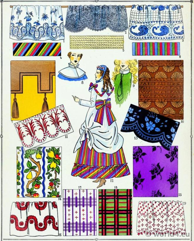 Étoffes, costume, féminin, français, modes, second, empire,