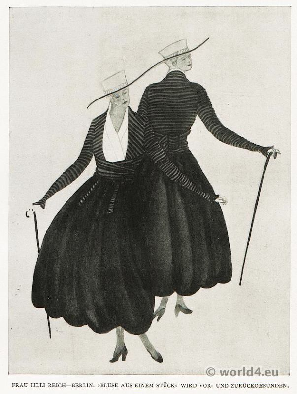 Designer Lilly Reich blouse fashion 1910s. German Modernist costumes.