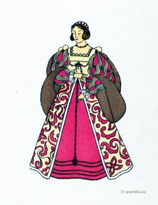 French Renaissance Fashion. 16th century costumes. France court dress