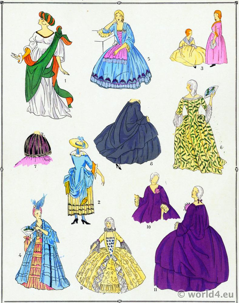 Louis XV dresses fashion. Rococo costumes. 18th century clothing