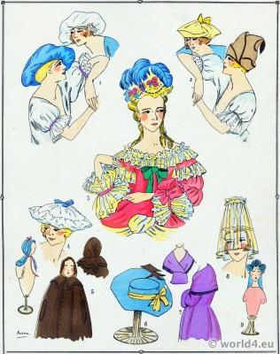 Coiffes, Capuchons. La mode Louis XV. Costumes de rococo. 18 vêtements de siècle.