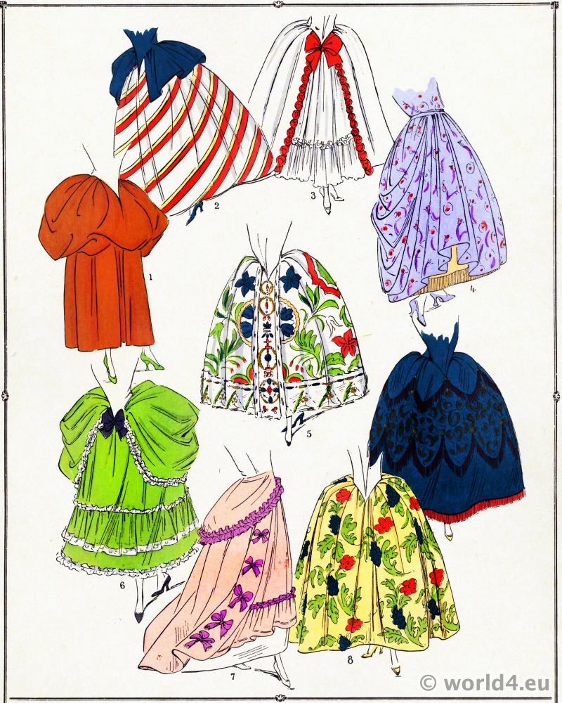Skirts. Louis XV fashion. Rococo costumes. 18th century clothing