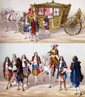 French Louis XIV. Maria Theresia. Baroque fashion. 17th century costumes