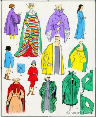 Coats fashions in the Middle Ages. 12th to 15th century costumes. Gothic fashion history