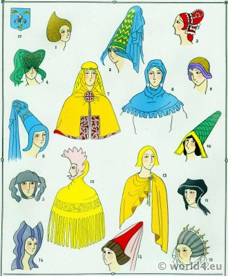 Caps and Hoods fashion. Middle ages headdresses. Hennin. Gothic fashion history.