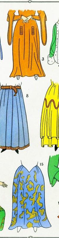 Jupes. Les modes du Moyen Age.