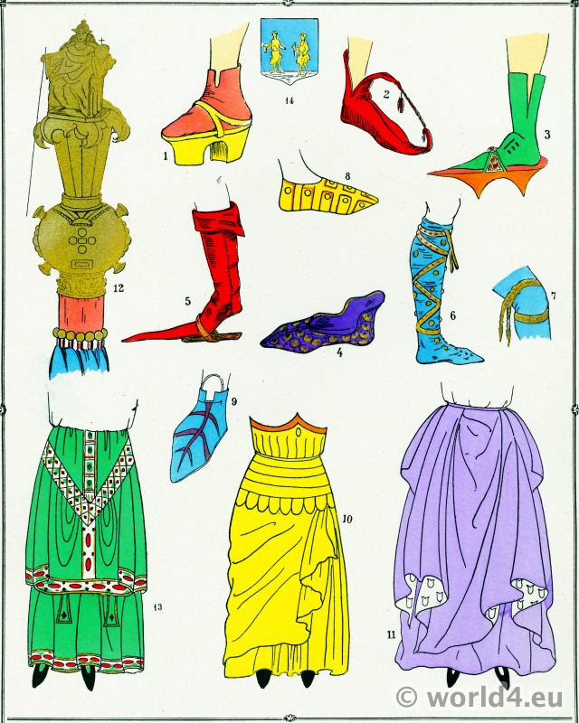 Chaussures, modes, Moyen Age, costume, féminin, français,