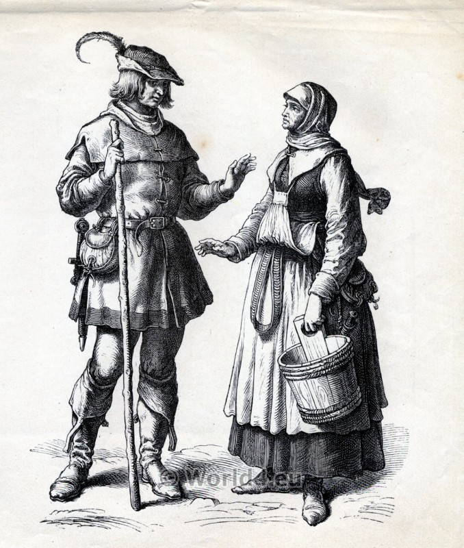 Renaissance clothing. German Peasants dresses. 16th century costumes. Medieval Fashion.