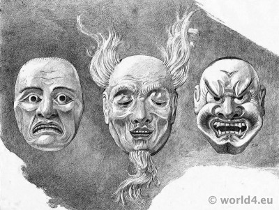 Japanese Modern Art. Noh theatre masks