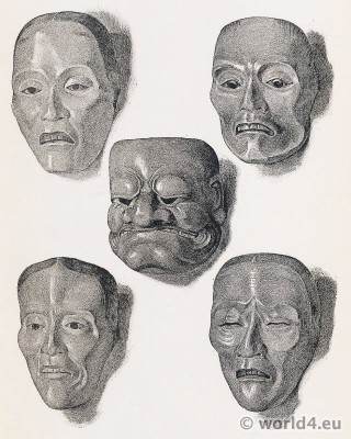 Seventeenth century - Japanese Art. Theater Masks.