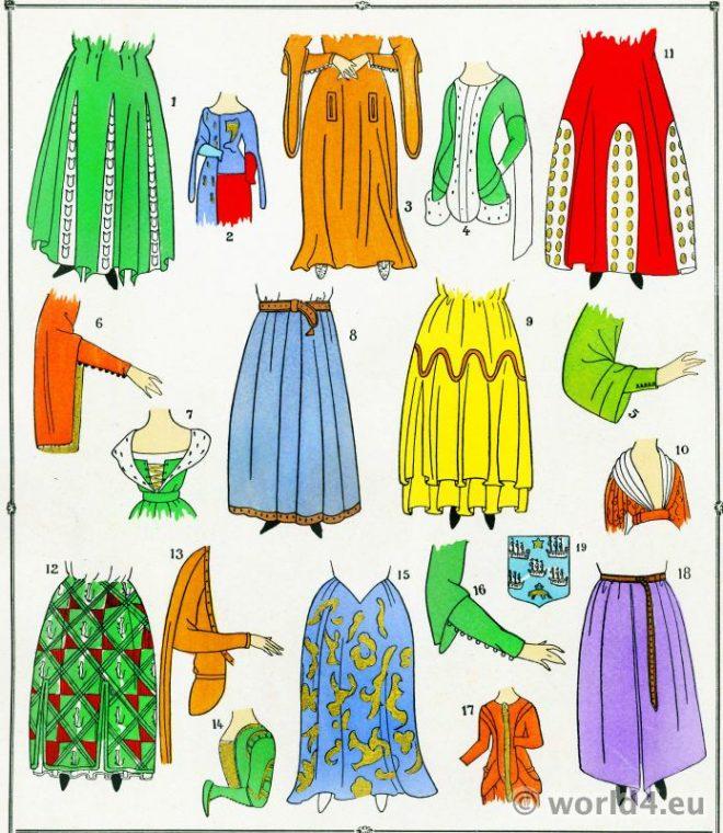 Jupes, costumes, Modes, Moyen Age