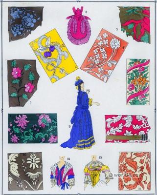 Étoffes, Modes, Louis XIV, Costume, féminin, français,