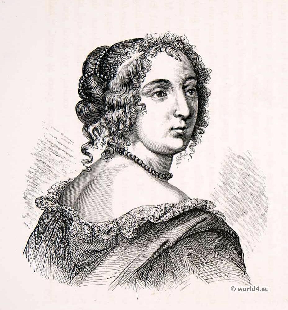 French Louis XIV Fashion. Madame de Montespan. Hairstyle 17th century. Baroque costume