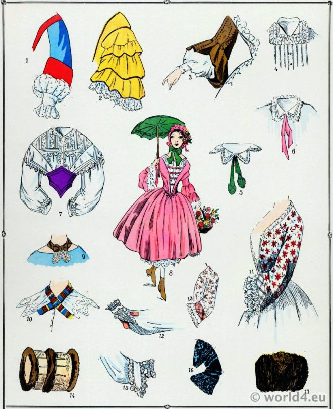 Manches, costume, féminin, français, modes, second empire,