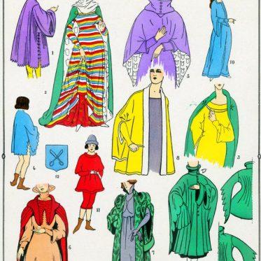 Houppelande, bliaut, Manteaux, Moyen Age, Costume français,