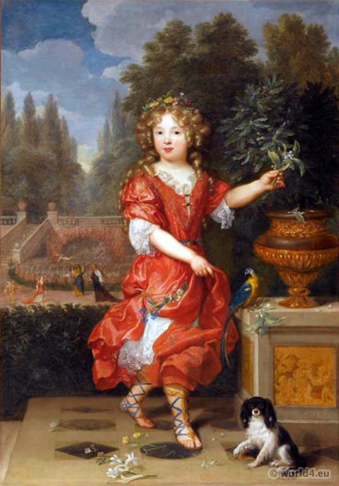 French Lois XIV Fashion. Mademoiselle de Blois Marie Anne de Bourbon. Pierre Mignard.