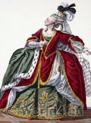 Marie Antoinette, rococo, fashion history, Hoop, Modes deParis