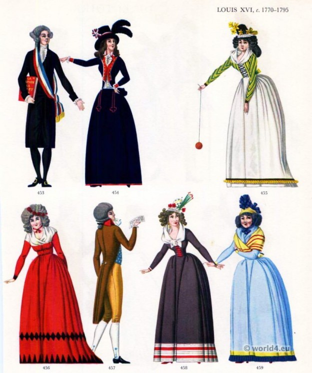 Louis XVI fashion 1770-1795. French Rococo Costumes. French Revolution dresses.